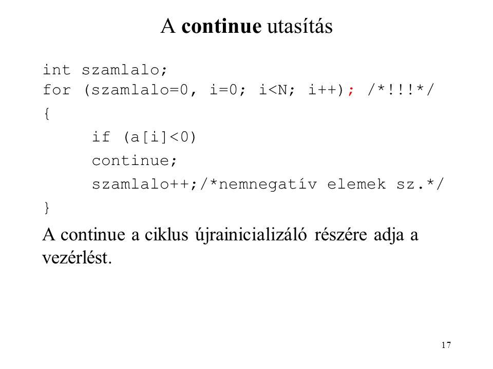 A continue utasítás int szamlalo; for (szamlalo=0, i=0; i<N; i++); /*!!!*/ { if (a[i]<0) continue;